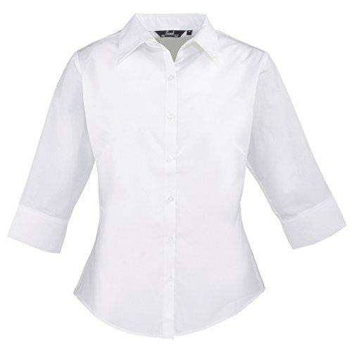 3/4de manga corta de mujer popelín blusa, Ladies Plain camisa de trabajo blanco