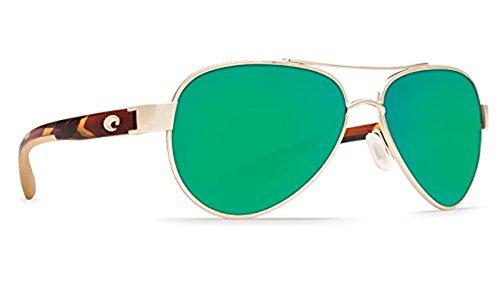 Costa Loreto Sunglasses Rose Gold Temple / Green Mirror 580P & Neoprene Classic - Costas Loreto
