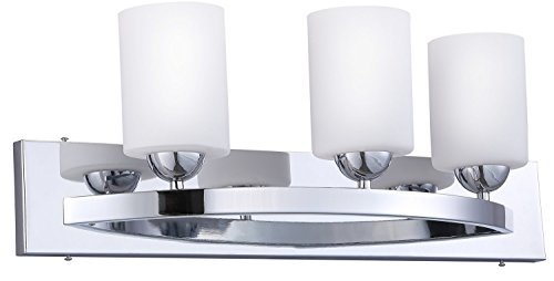 CloudyBay CB17001-CH Bath Vanity Light Fixture,3-Bulb Wall Sconce with Opal Glass Shade,UL Listed,Chrome Finish