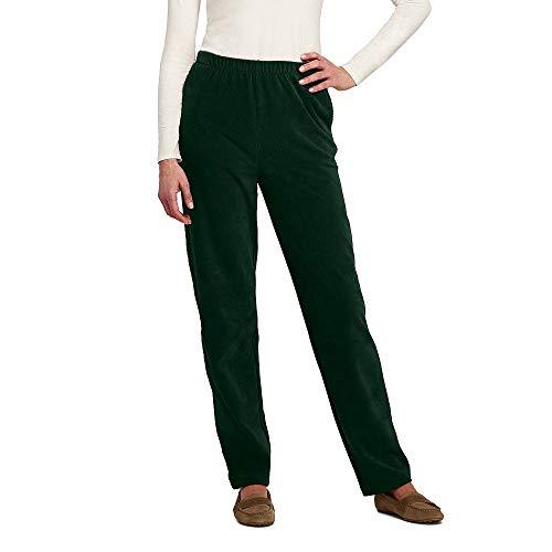 Lands' End Women's Sport Knit Corduroy Elastic Waist Pants High Rise, L, Rich Pine -