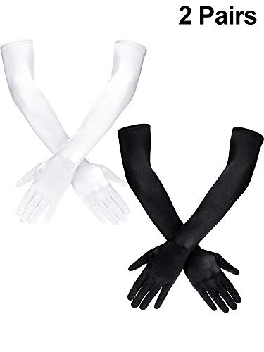 (Sumind 1920s Opera Gloves Satin Long Elbow Length Gloves Adult Size for Women (Black/White, 22)