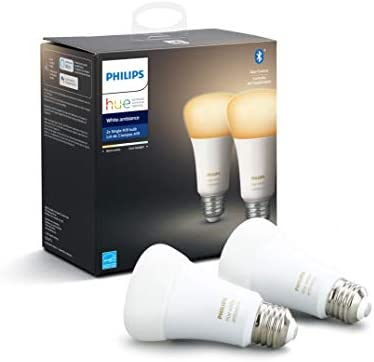 Phillips Hue White Ambiance A19 2 Pack LED Smart Bulb