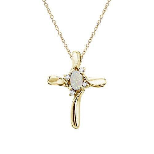 14K Yellow Gold Opal and Diamond Cross Pendant with 18