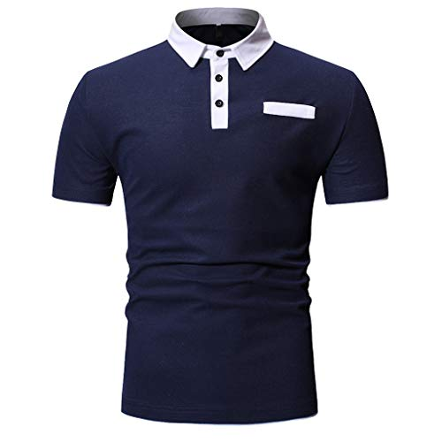 - Beautyfine Henry for Men, ❤ Men's Fashion Short Sleeve Tops Painting Large Casual Top Blouse Shirts Navy