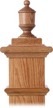 LJ-9009 Red Oak Lighthouse Finial for Box Newels ()