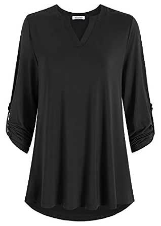 Esenchel Women's 3/4 Roll Sleeve Tunic Top Notch Neck Blouse 2X Black