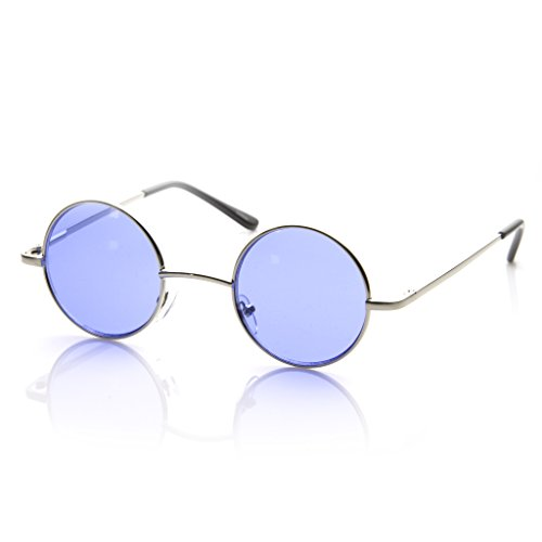 MLC EYEWEAR Small Metal Round Circle Color Tint Lennon Style Sunglasses (Silver, - Blue Round Glasses