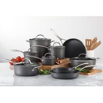 15-Piece Hard-Anodized Aluminum ~ Cookware Set