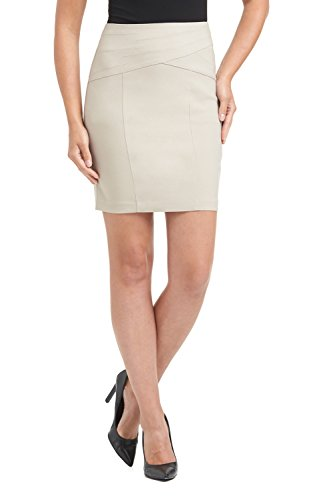 Rekucci Women's Ease In To Comfort Modern Pull-On Skirt for Office to Casual (Medium,Stone)