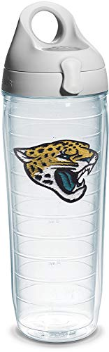 Tervis NFL Jacksonville Jaguars Emblem Individual Water Bottle with Gray Lid, 24 oz, Clear