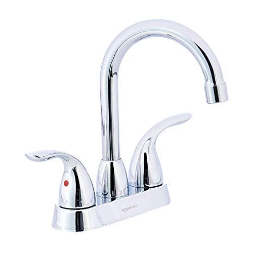 AmazonBasics Modern Two Handle Bathroom Goose Spout Basin Faucet, 4 Inch, Polished Chrome