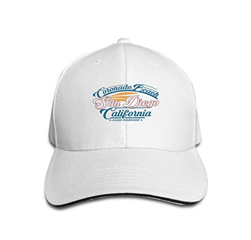 (Comfortable Baseball Caps Surfing san Diego California Retro Design Surfing san Diego Cal White)
