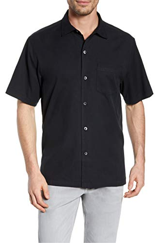 (Tommy Bahama Men's Catalina Twill Stretch Camp Shirt (X-Large, Black))