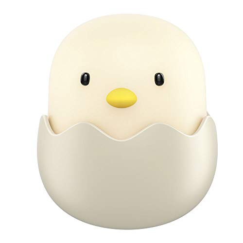 Tecboss Baby Night Light, Cute Chick Night Light for Kids, Soft Silicone Kids Nightlight Rechargeable LED Touch Lamp, Baby Girl Boys Gifts, Birthday Gifts for Toddler Kids