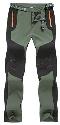 TBMPOY Men's Water Resistant Camping Hunting Tactical Pants Fishing Casual Sports Pants(Green,US 38)