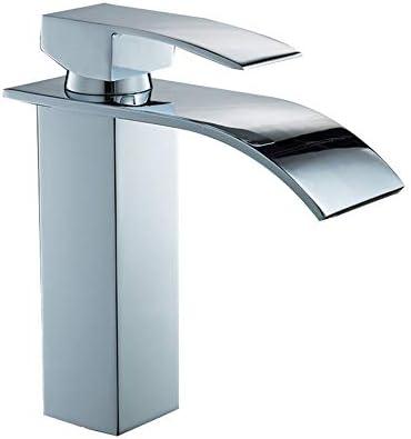 キッチン水栓 浴室の流しのコック1つの穴の単一のハンドルの滝浴室の虚栄心の流しのコックの浴室の据え付け品 キッチンとバスルームに適しています (Color : Silver, Size : 18.5*17.5cm)