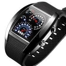 Boolavard ® TM Instrumententafel-Uhr-Flash LED-Militärluftzähler der Luft beobachten Brand New Sports Car Meter Zifferblatt Uhr für Männer