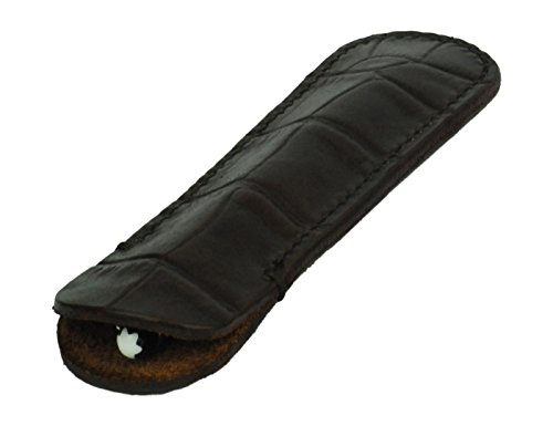 Leather Pen Sleeve, Crocodile Grain Leather, Brown, (Burnished Vegetable Tanned Leather)
