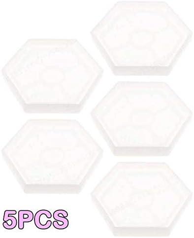Zeen 5PCS Transparent Weiß Hexagon-Form-freie Silikon-Harz-Form für Schmuck Coaster Dekorative