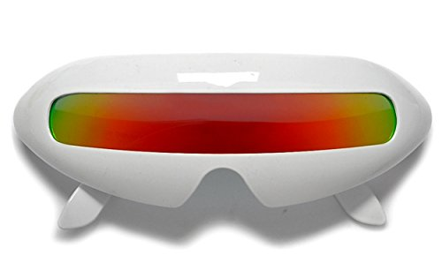 Novelty Single - WebDeals - Futuristic Cyclops Single Lens Oval Mirror Sunglasses (White, Fire)