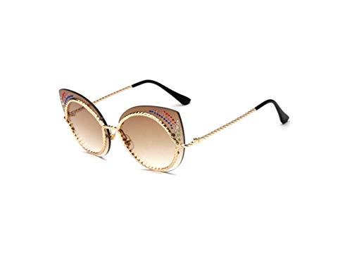 Sol Oro Gafas Personalidad Doble Liwenjun Café De Nuevas Metal Americanas La EHwq8ZC