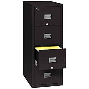 """FireKing Patriot 4P1831-CBL One-Hour Fireproof Vertical Filing Cabinet, 4 Drawers, Deep Letter, 18"""" W x 31"""" D, Black, Made in USA"""