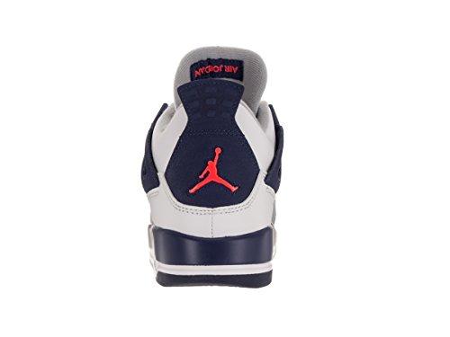 Nike Air Jordan 4 Retro Gg, Zapatillas de Running Para Niñas Blanco / Naranja / Azul (White / Hypr Orng-Dp Ryl Bl-Wlf)