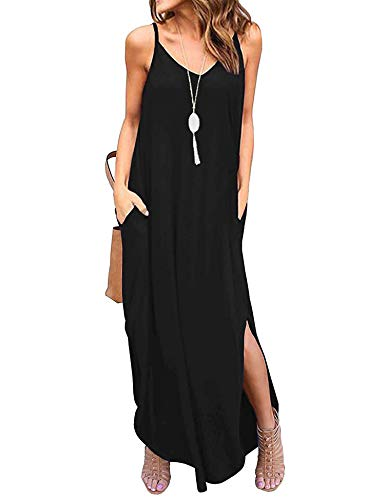 Sleeveless Strappy Cami Maxi Long Dress V Neck with Pockets Casual Summer Beach Skirt Cover Up Backless Side Slits Loose Solid Color for Women Black XXL