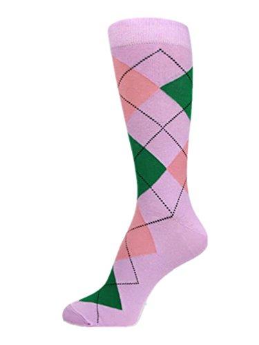 Argyle Green Pink And - PolyMedea Men's Dress Argyle Socks,Pink/Green/Peach