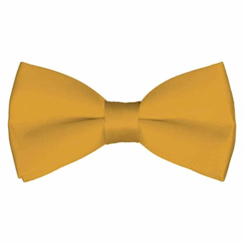 Yellow Gold Bow Tie - Mens Classic Pre-Tied Satin Formal Tuxedo Bowtie Adjustable Length Large Variety Colors Available, by Platinum Hanger (Mustard)