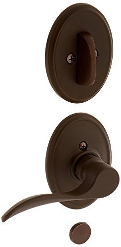 Schlage Lock Company F94CHP613WKFLH Oil Rubbed Bronze Interior Pack Champagne Lever Left Handed Dummy Interior Pack with Deadbolt Cover Plate and Decorative Wakefield Rose