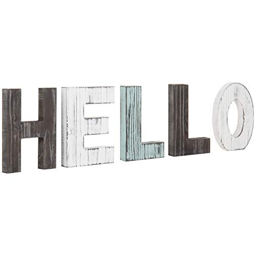 (MyGift Multicolor Rustic Wood Tabletop Hello Cutout)