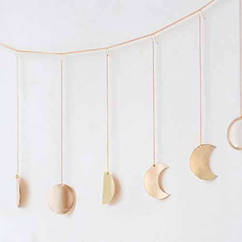 (Ling's moment Original Boho Gold Shining Moon Phase Wall Hanging Ornaments Moon Hang Art Room Decor for Wedding Retro Style Home Wall Decorations)