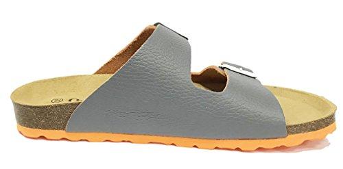 Oak & Hyde Malaga Duo - Grey/Orange Leather (BURKINSTOCK Style Sandals) hBK0mShJ