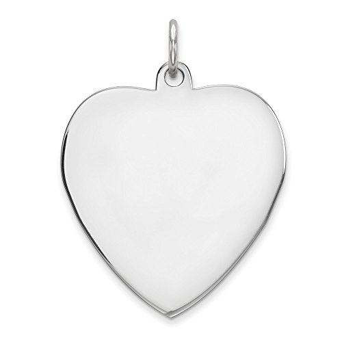 Sterling Silver Engravable Heart Disc Charm (0.9in)