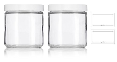 Large Clear Thick Glass Straight Sided Jar with White Foam Lined Lid - 16 oz / 480 ml (2 pack) + Labels (Sided Straight Glass)