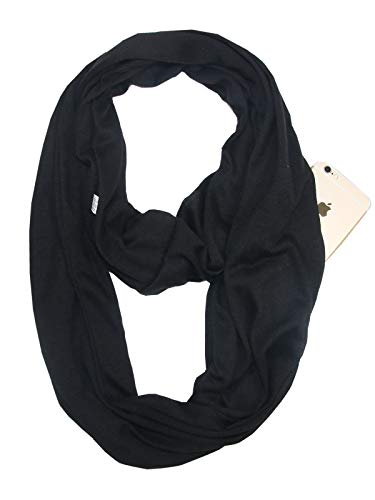 Fashion Solid Color Scarf for Women Infinity Scarf with Zipper Pocket, Best Travel Scarf ()