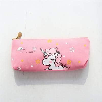 ASCZFAS bolsa de lápiz Lindo pony Unicornio animal estudiante estuche de lápices escuela estuches para niña papelería lienzo estojo escolar 02 Rosa: Amazon.es: Oficina y papelería