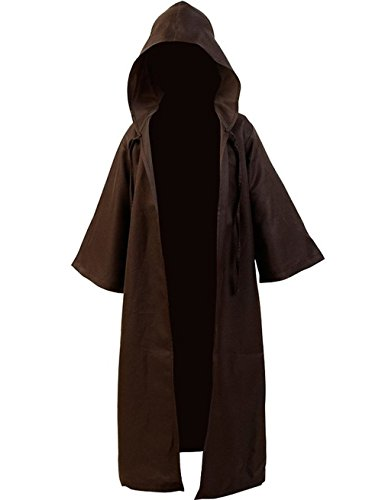 [Gameyly Men's Halloween Cosplay Hooded Robe Cloak L Brown] (Adult Knight To Remember Costumes)