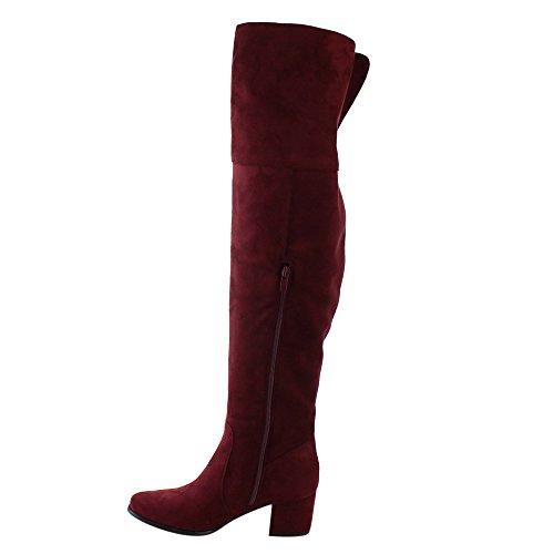 Nature Breeze Frauen FF00 über die Knie Mid High Block Heel Stiefel Wein