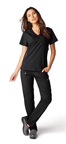 Solid Scrub Top (koi Lite Women's Philosophy Mock Wrap Side Zipper Solid Scrub Top Small Black)