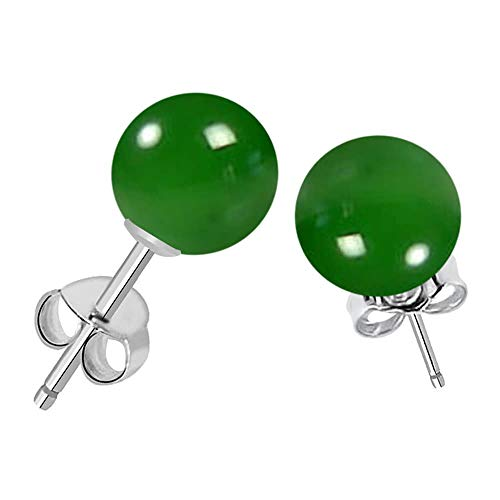 Earrings Onyx Green (Genuine Green Onyx Gemstone Stud Earrings, 925 Sterling Silver, Perfect Gift for Women's And Girls, Secured Butterfly Back Push (7 Cttw, 8 Mm Round Ball))