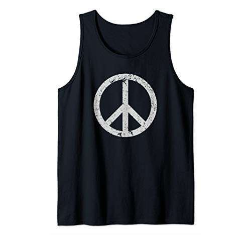 Vintage Peace Sign White Distressed Tank Top (Peace Distressed Sign)
