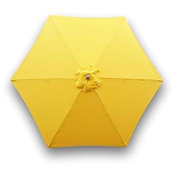 9 m toldo de 6 varillas de repuesto de paraguas en amarillo (toldo de Olefina