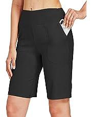 Willit Bermudas atléticas de algodón para mujer, de 25,4 cm, pantalones cortos largos de cintura alta, yoga, correr, entrenamiento, bolsillos