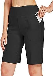 "Willit Women's 10"" Athletic Bermuda Shorts Cotton Long Shorts High-Waisted Yoga Running Workout Short"