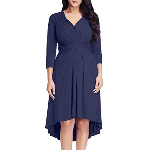 KESEELY Dresses for Wedding Guest - Fashion Womens Casual 3/4 Sleeve Cross V Neck Fit Loose Hem Solid Color Elegant Dress ()