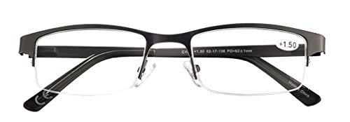 Eyecedar Metal Half-Frame Reading Glasses Men 5-Pack Spring Hinges Stainless Steel Material Includes Sun Readers +1.50