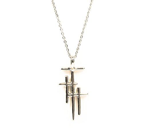 Three Tone Necklace - My Saint My Hero Faithful Light Three Cross Necklace - Silver-Tone