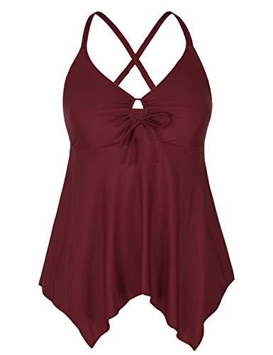 Mycoco Women's Tummy Control Front Tie Swim Top Cross Back Tankini Top Flowy Swimdress Burgundy 14 ()